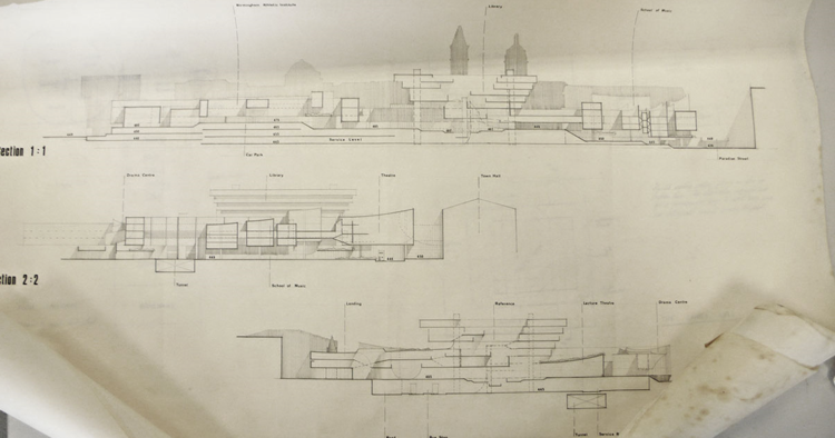 Schematic drawings for Paradise Circus by John Madin Design Group, 1965  © Birmingham and Five Counties Architectural Association Archive