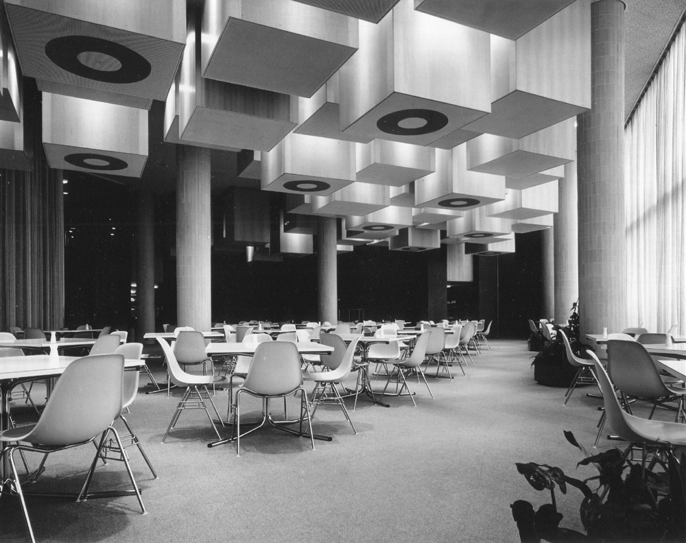 Halifax BS Head Office, Halifax, Restaurant ceiling on beech plywood. Designed and built by Alan Boyson 7770-33 low res.jpg