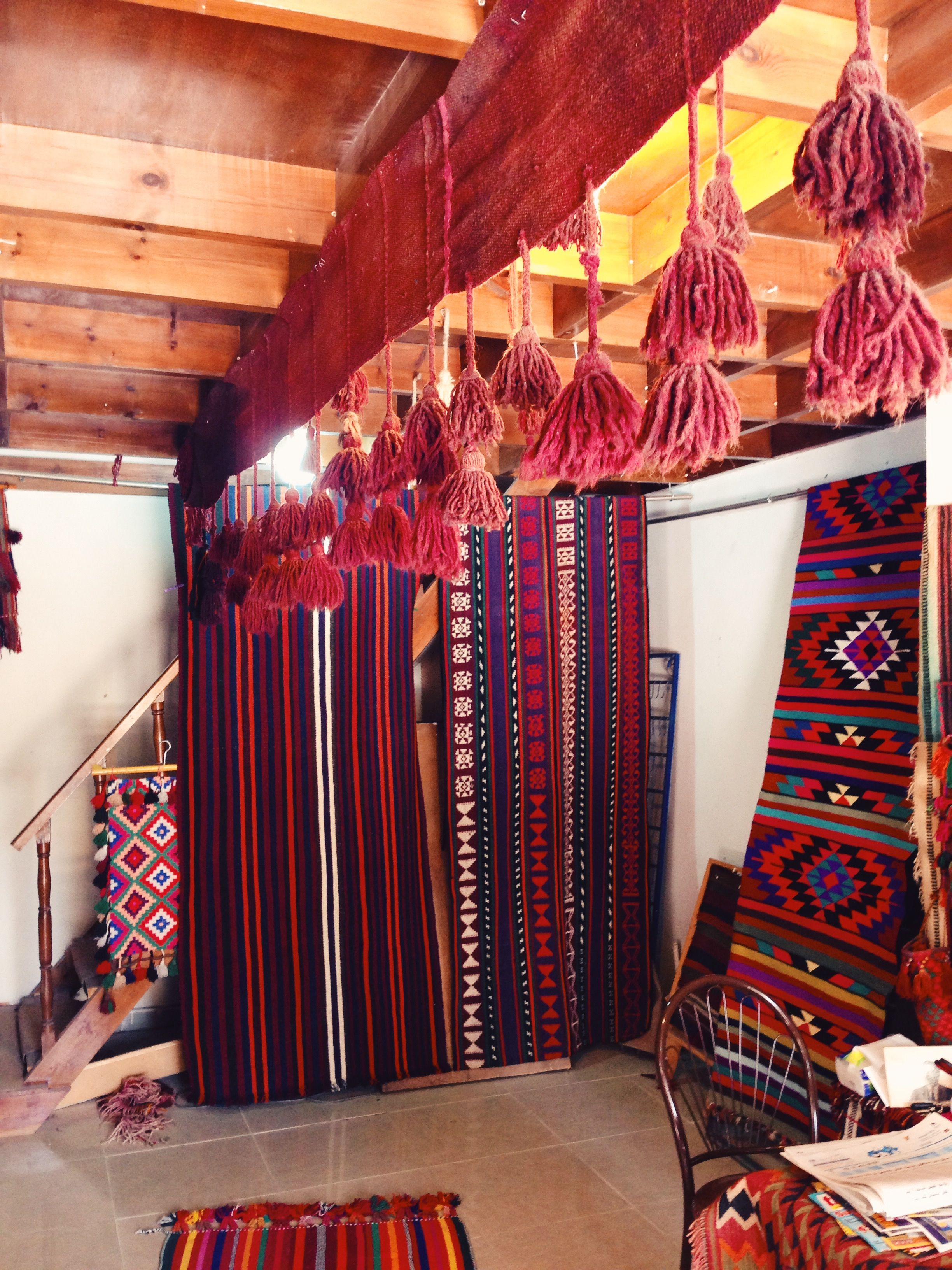 This is the interior of one of the best rug shops in Madaba, a small town about 30 minutes from Amman.  The owner is the sweetest old man, who really cares about the quality of his products, as well as paying fair prices to the Bedouin weavers who make the rugs.