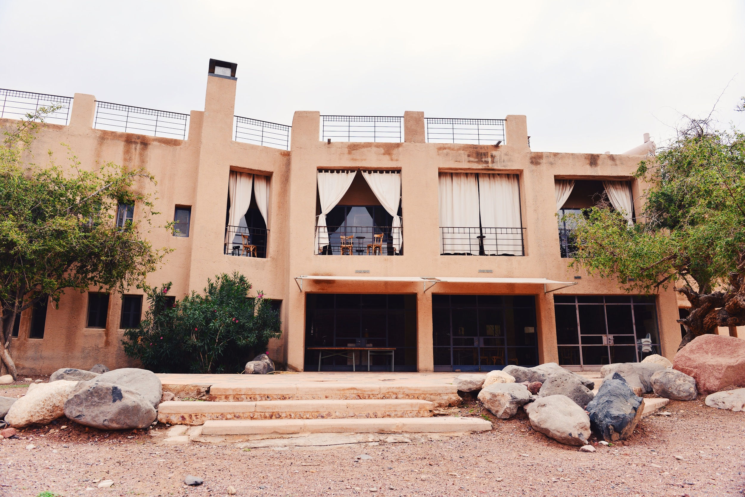 Side view of the main building at Feynan Ecolodge.