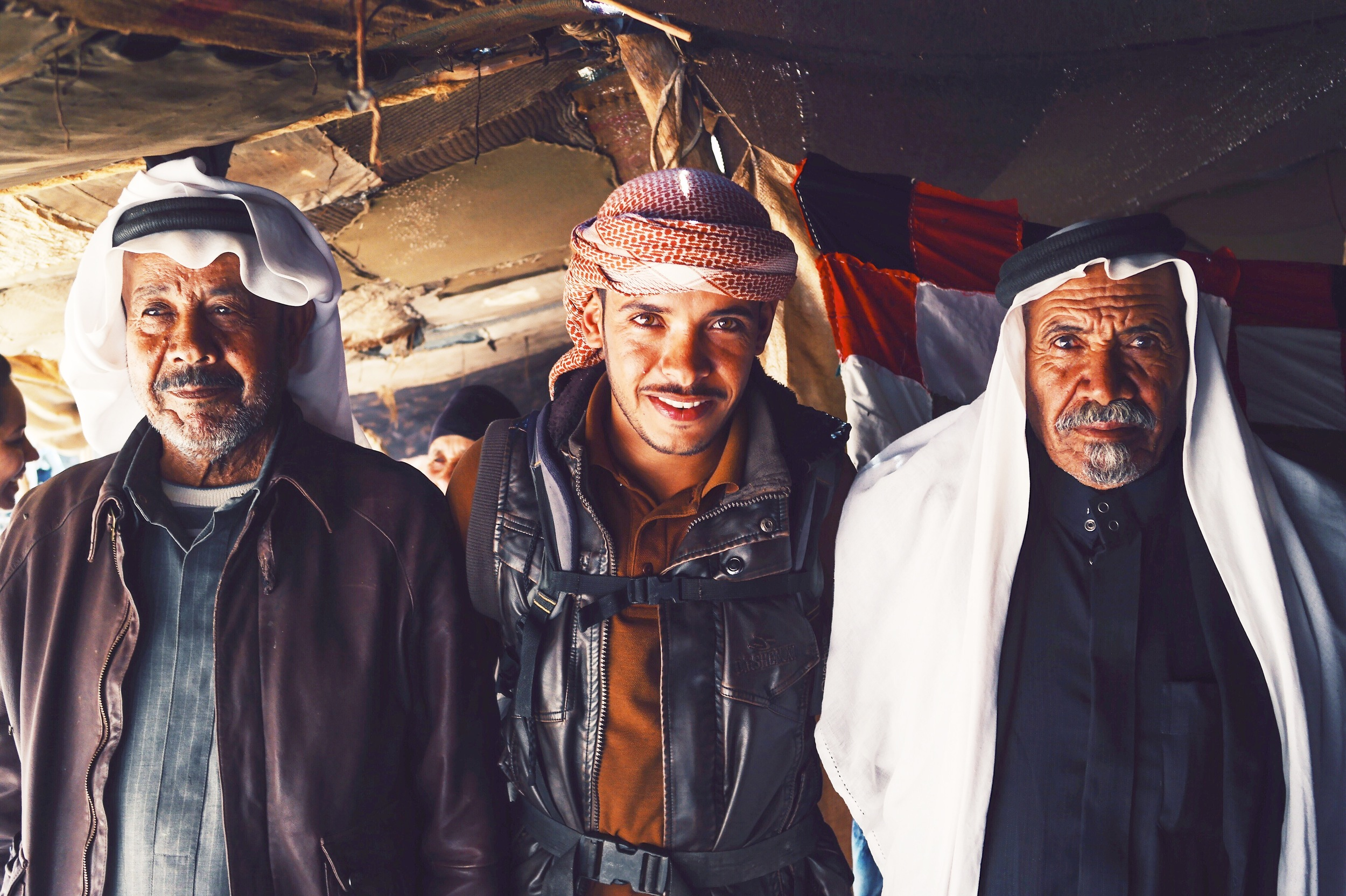 Feynan Ecolodge Bedouin Guide, Suleman (center) with his father (right) & uncle (left).