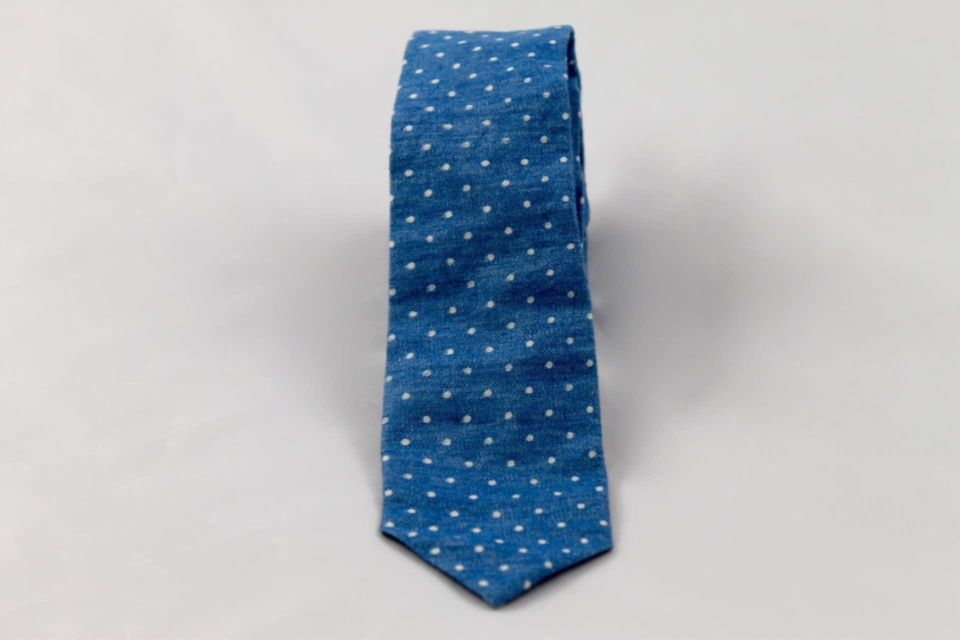 Dusty Blue Skinny with White Polka Dots by Lion's Thread  ,  TO THE MARKET , $35.00