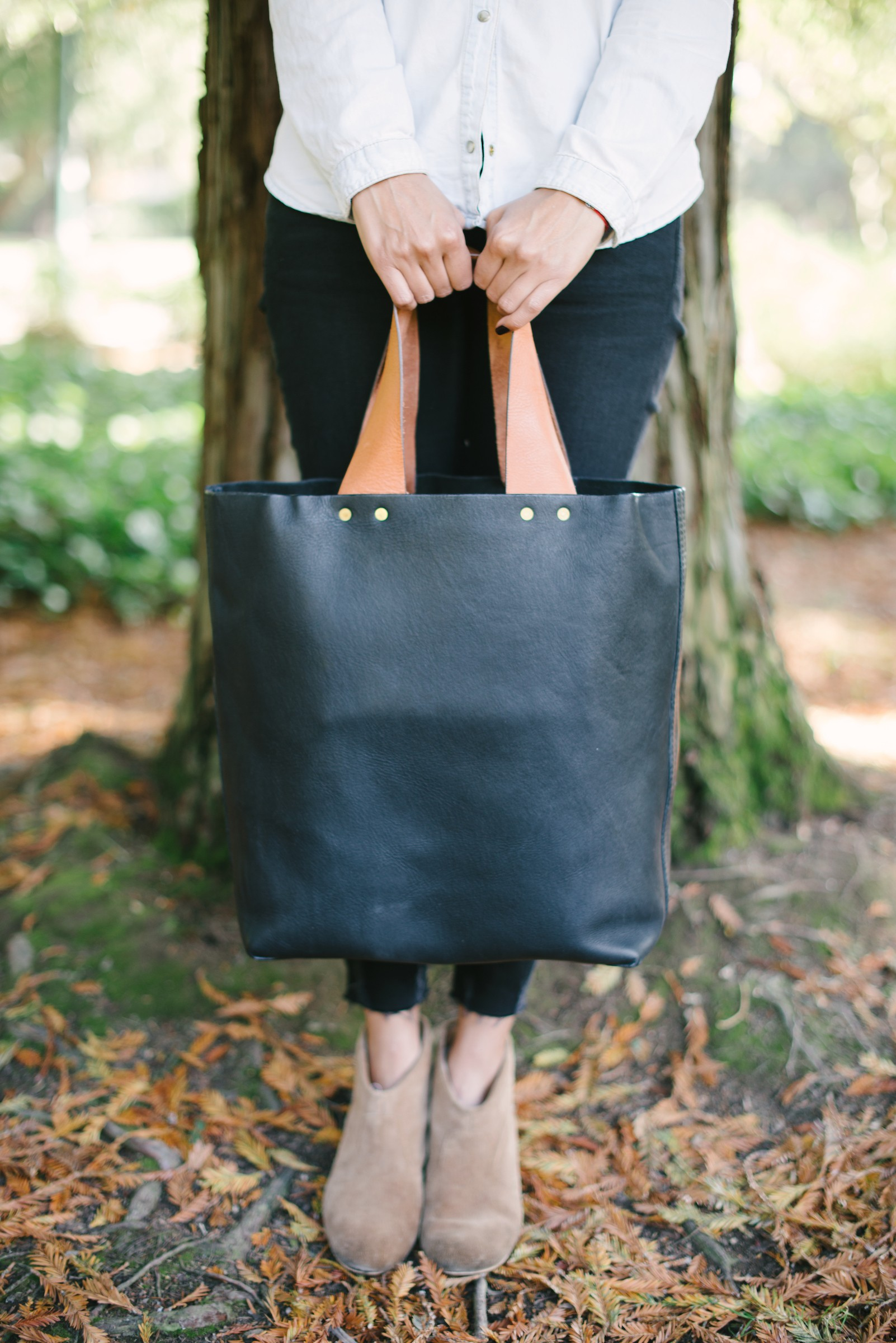*Limited Edition* Ethical Leather Tote in Caramel & Black  ,  TO THE MARKET Exclusive , $199.00