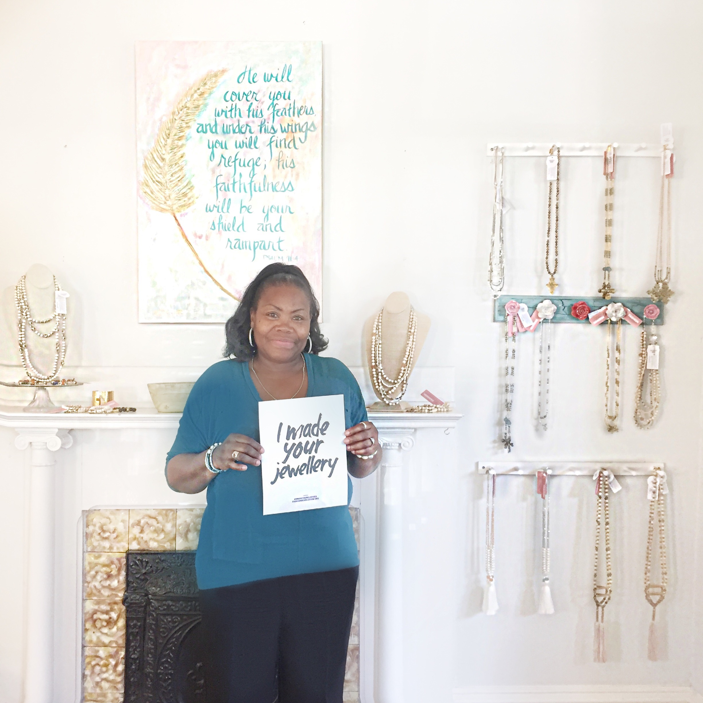 Local artisan partner in North Carolina makes jewelry with ethically sourced beads from around the world (Fashion and Compassion).