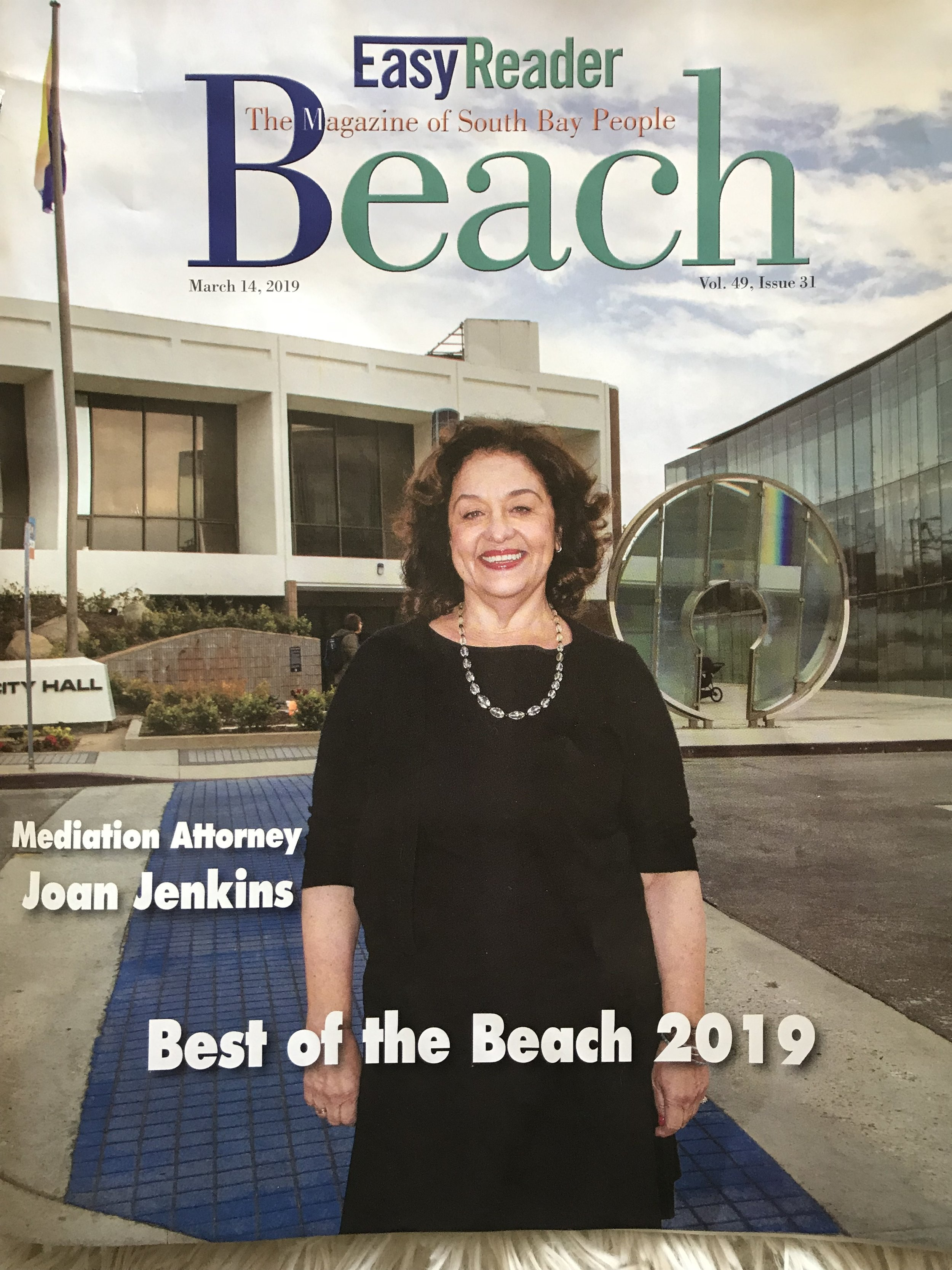 Click on the image to read the Easy Reader article by Mark McDermott about Joan and her work with Juvenile Justice in Manhattan Beach.