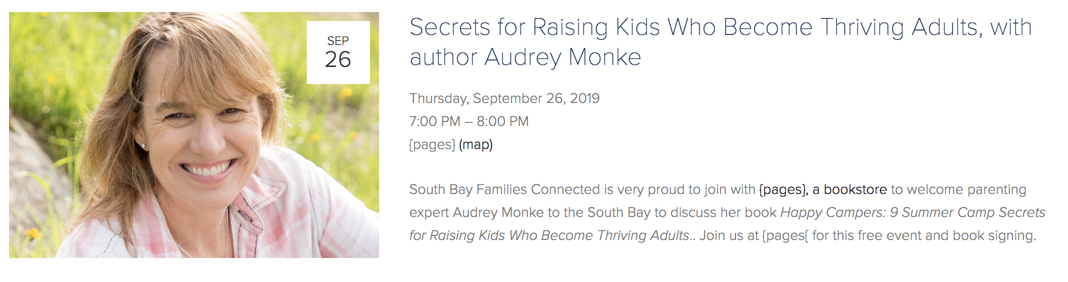 Click on image for upcoming event with Audrey