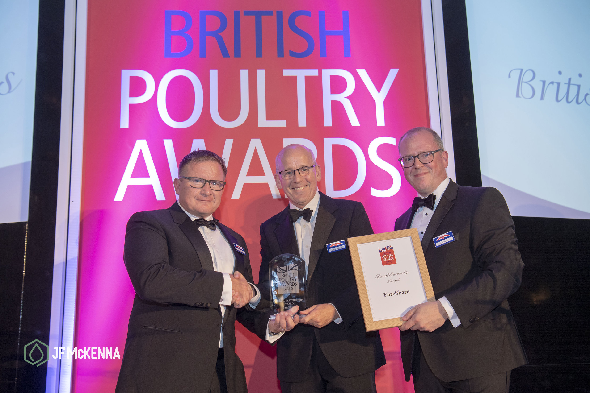 JF McKenna's Brian Moxon presents the Special Partnership Award to Lindsay Boswell, CEO, Fareshare. Pictured with Richard Griffiths, Chief Executive of the British Poultry Council.