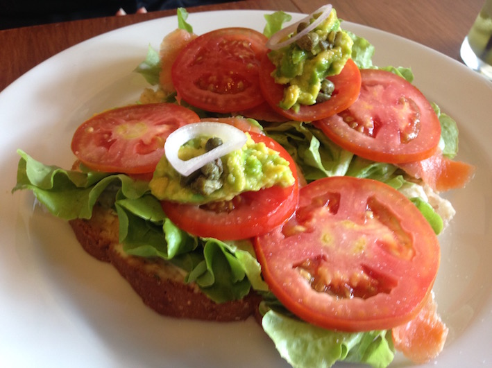 Smoked salmon sandwich with avocado, tomato and lettuce. Naked Espresso cafe, Vientiane | Eat Drink Laos http://eatdrinklaos.com/blog/naked-espresso-vientiane One of Vientiane's favourite coffee drinking cafes for foreigners and Laotians alike - superb Lao coffee, great food, friendly atmosphere