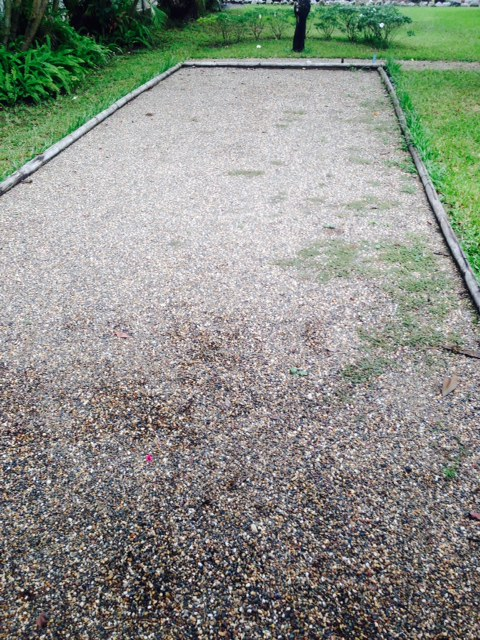 Fancy a game? Our petanque pitch in the garden looking slightly under-used