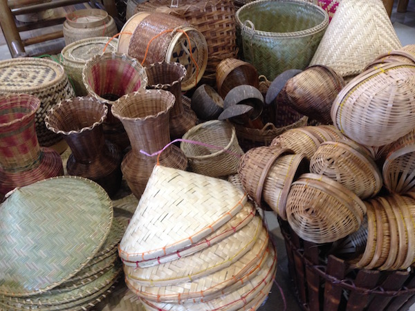 Rattan hats and baskets