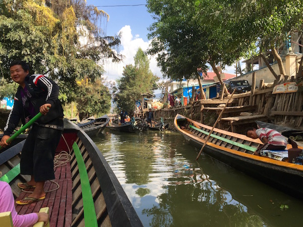 Canal traffic downtown, in the main town of Nyuang Shwe