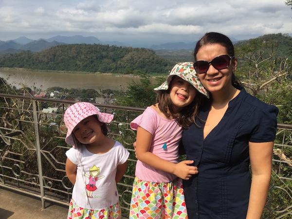 We're all smiling - atop Luang Prabang's famous Phu Si