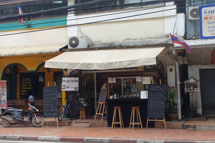 The unassuming street view of Cubic Gallery in downtown Vientiane