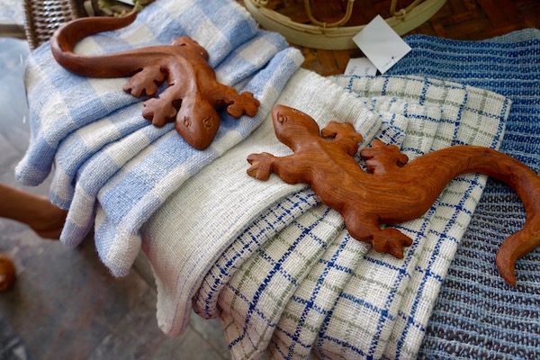 Wooden geckos handmade by a wood carver in Luang Prabang