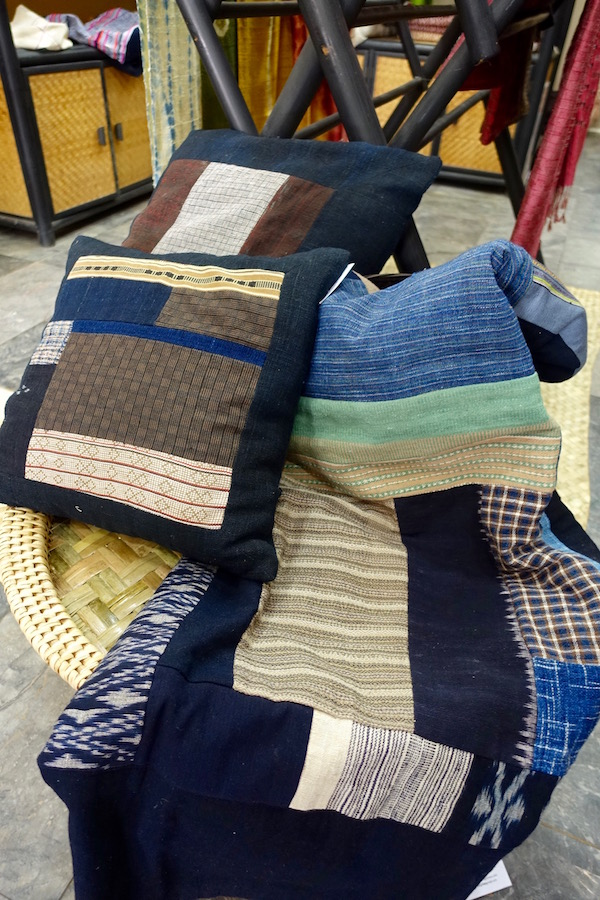 Gorgeous handmade cushion covers and bedspread from Houey Hong