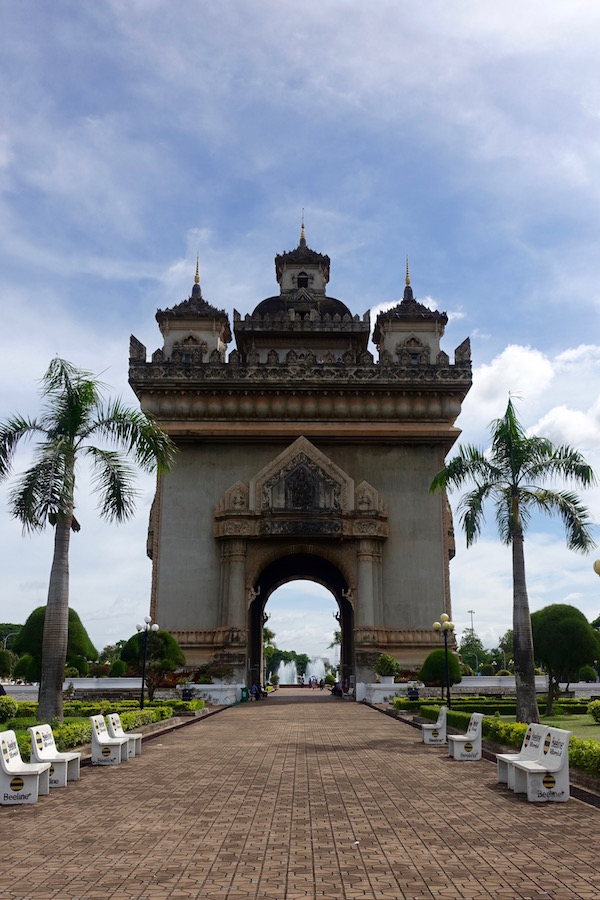 The Patuxai Victory Monument, one of Vientiane's landmarks, sits on a roundabout in a great vantage spot, ASEAN Fever | Eat Drink Laos http://eatdrinklaos.com/blog/asean-fever