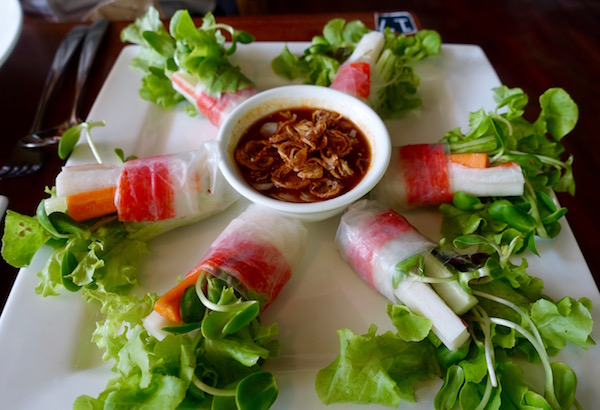 """Fresh salad and rice paper rolls; this is on their """"healthy' menu though it's a bit standard around town."""