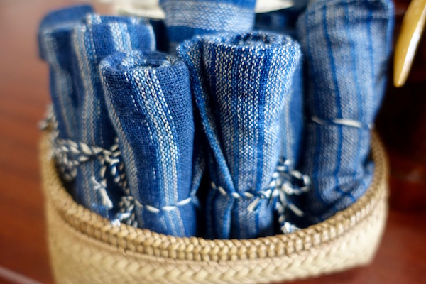 Stunning indigo 100% handwoven and naturally dyed Lao cotton wraps at Houey Hong in Vientiane, Laos, a vocational training centre for women weavers | Eat Drink Laos http://eatdrinklaos.com/blog/vientiane-houey-hong