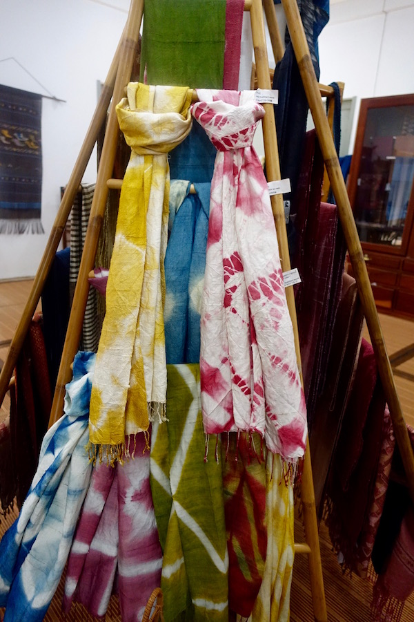 Dye your own gorgeous 100% handwoven silk scarf at Houey Hong in Vientiane, Laos, a vocational training centre for women weavers | Eat Drink Laos http://eatdrinklaos.com/blog/vientiane-houey-hong