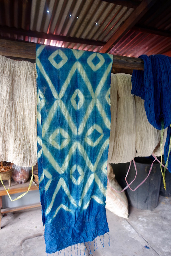Dye your gorgeous 100% handwoven silk scarf - An authentic Lao traditional weaving experience at Houey Hong in Vientiane, Laos, a vocational training centre for women weavers | Eat Drink Laos http://eatdrinklaos.com/blog/vientiane-houey-hong