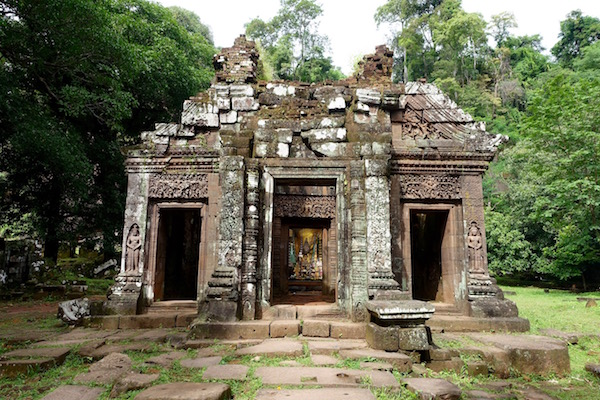 The once Hindu and now Buddhist shrine at the top of the 1,000 year old Wat Phu, is still considered sacred. It was part of the Khmer empire, akin to Angkor Wat in Cambodia | Eat Drink Laos http://eatdrinklaos.com/blog/southern-laos-wat-phu