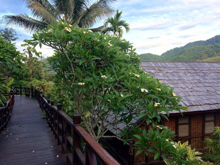 Beautiful stay at the Luang Say Lodge in Pak Beng, Laos - Northern Laos: Mekong River Cruise © Eat Drink Laos https://eatdrinklaos.com/blog/northern-laos-mekong-river-cruise
