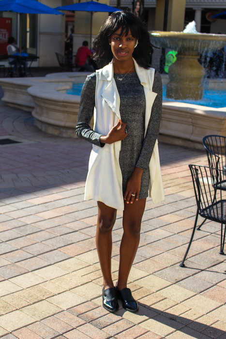 Dress: H&M Jacket: Nordstrom Rack Flats: Sam Edelman (Ross)