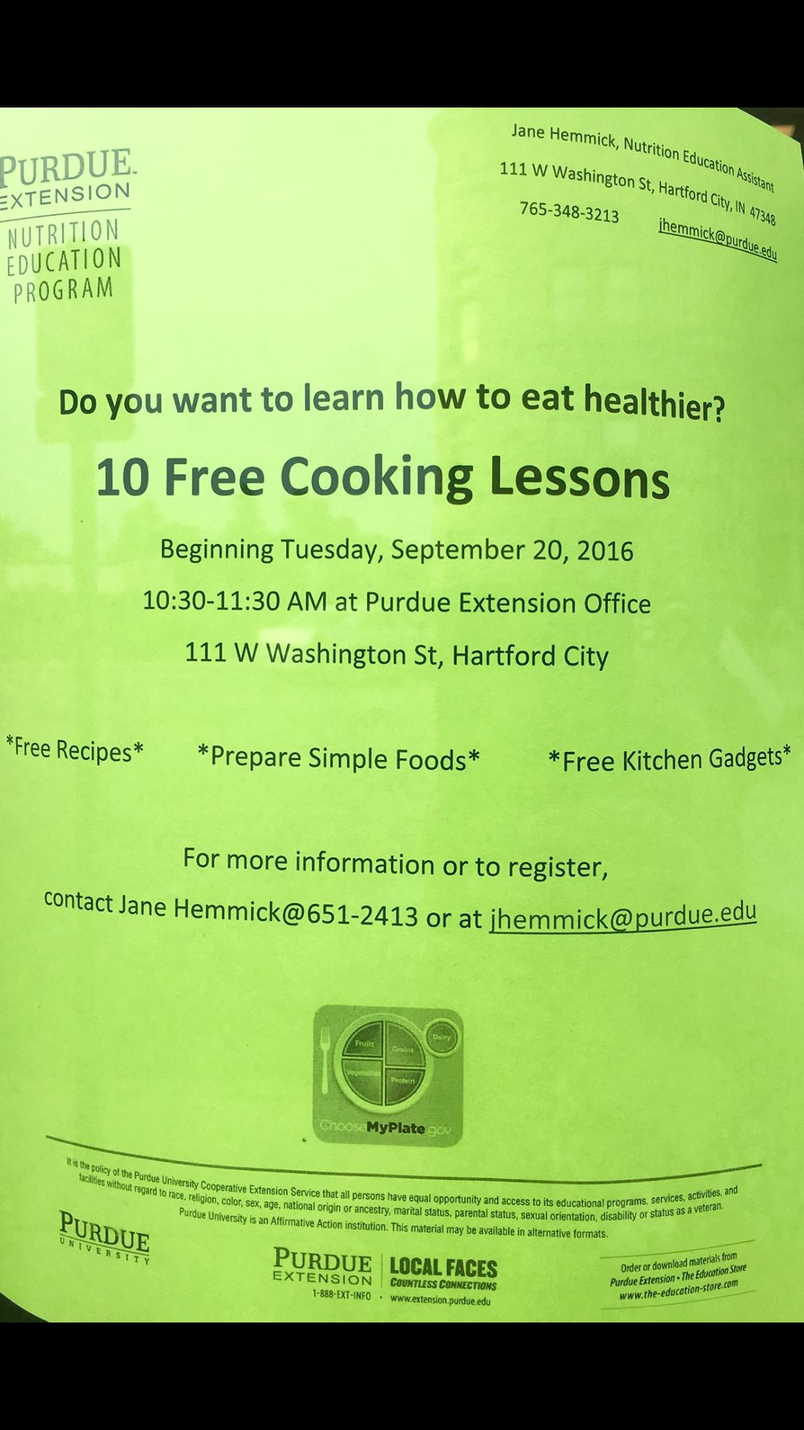 10 Free Cooking Lessons Poster