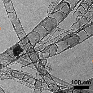 Nitrogen-doped carbon nanotubes proved to be efficient, and potentially inexpensive, catalysts for reducing carbon dioxide. Image: Adapted from Angewandte Chemie/Univ. of South Carolina