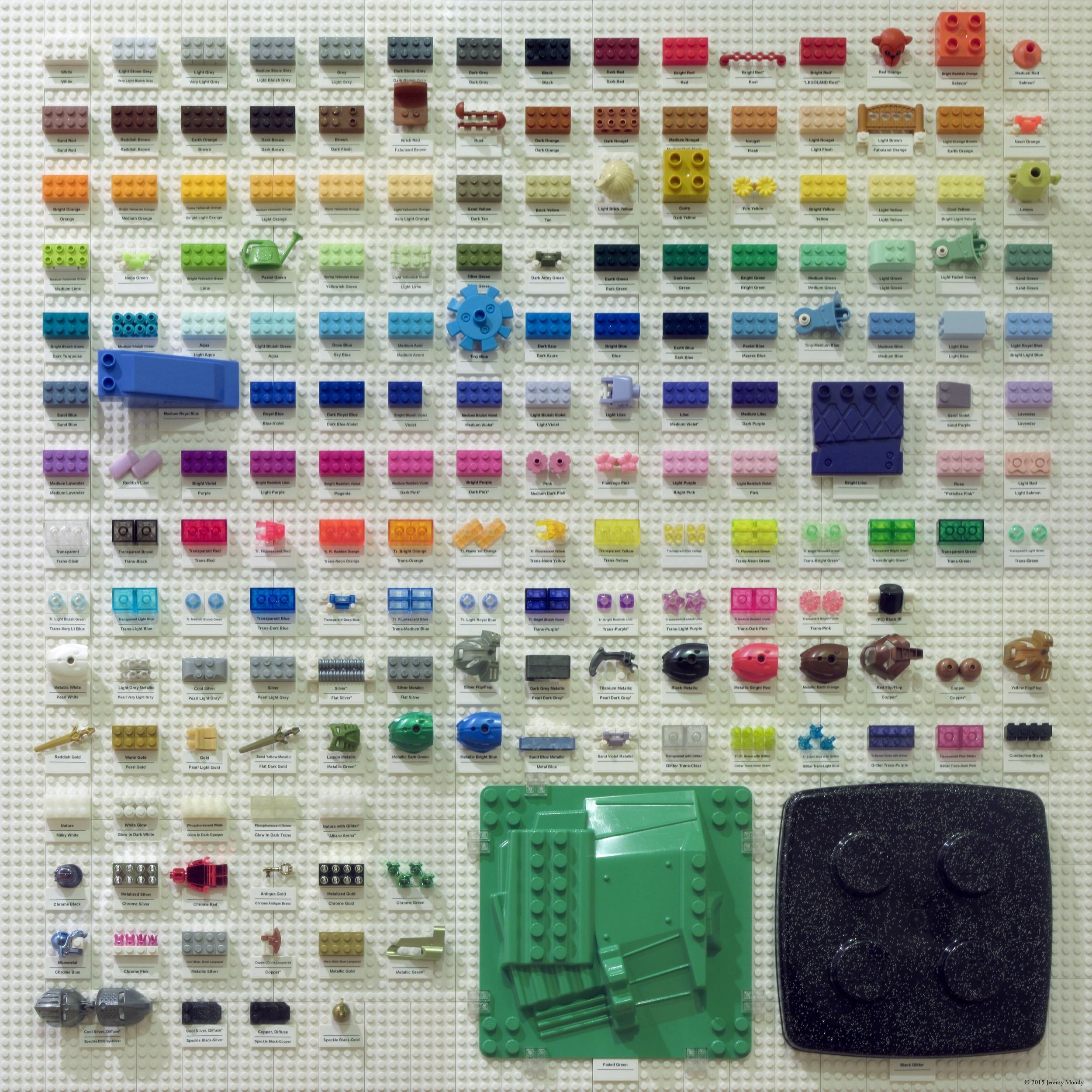 This is every color of Lego ever produced and placed into a chart by James Moody. There are 182 total.
