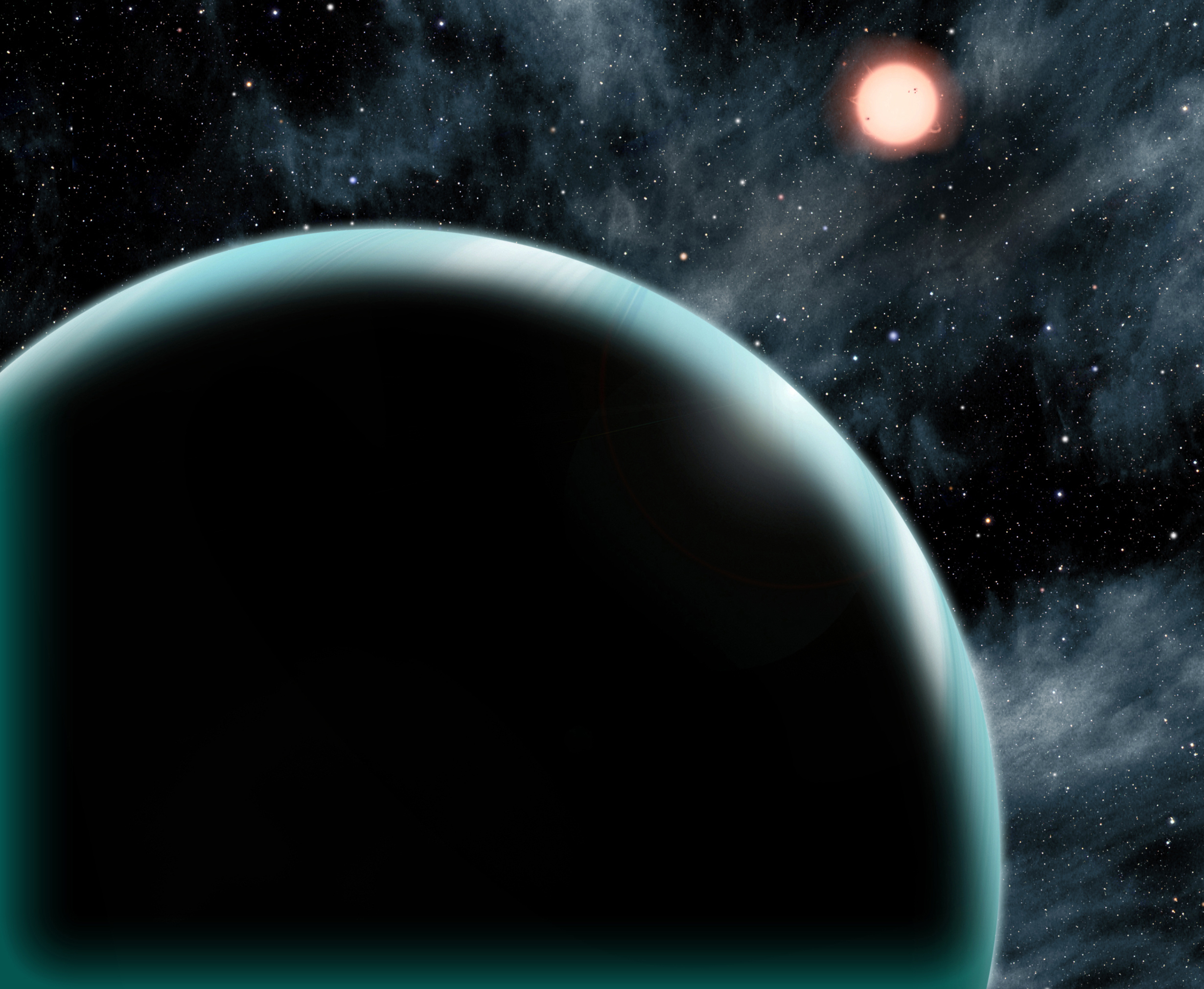 This artist's conception shows Kepler-421b, a Uranus-sized transiting exoplanet with the longest known year, circling its star once every 704 days. Kepler-421b orbits an orange, K-type star that is cooler and dimmer than our sun and is located about 1,000 light-years from Earth in the constellation Lyra.    Image Credit: Harvard-Smithsonian, Center for Astrophysics/D. A. Aguilar