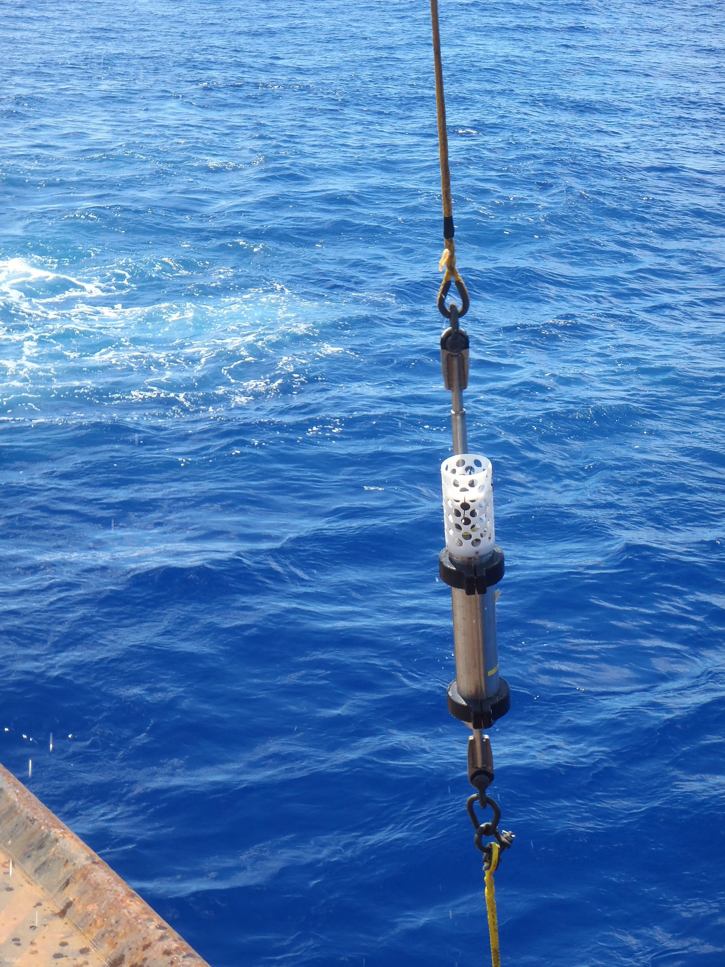 Hydrophone being lowered into the Mariana Trench. (NOAA)