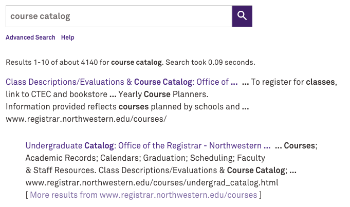 "Sometimes the link isn't readily available from navigation, so go ahead and search for ""course catalog."""
