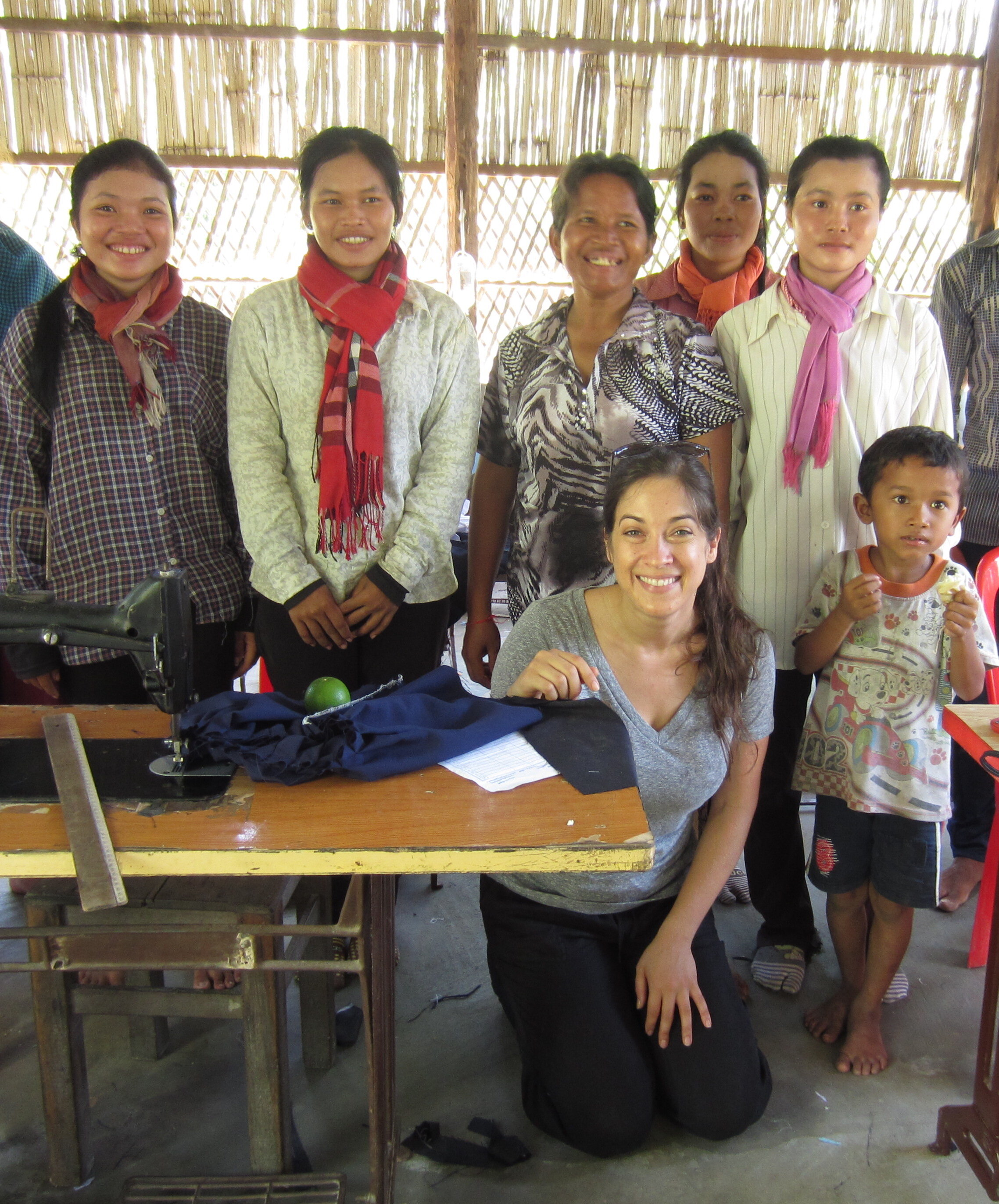 Photo of: Roni Sivan with Cambodian Seamstresses