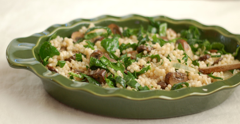 Pearl Couscous with Mushrooms and Spinach