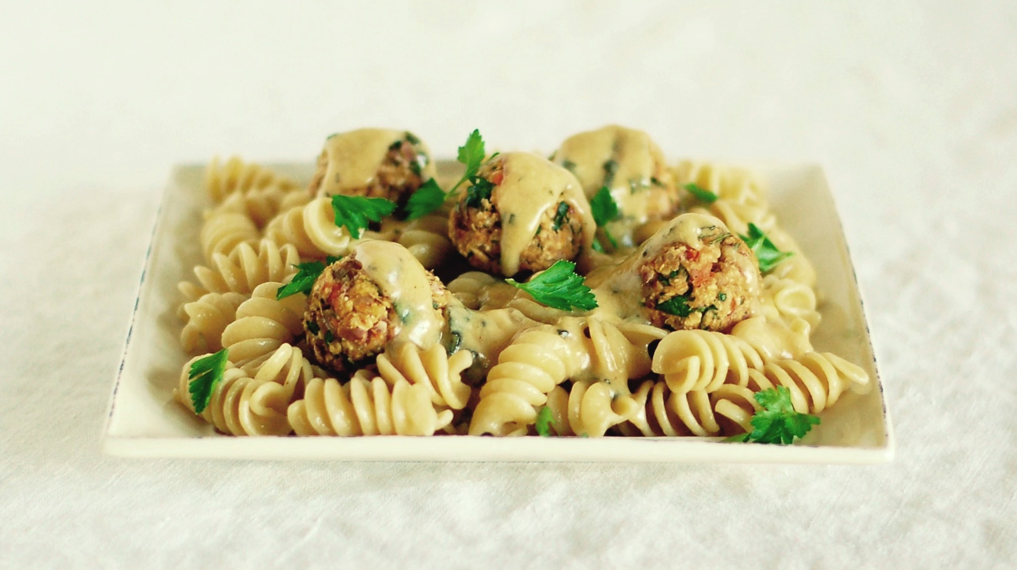 Creamy Sage Sauce with Meatless Balls