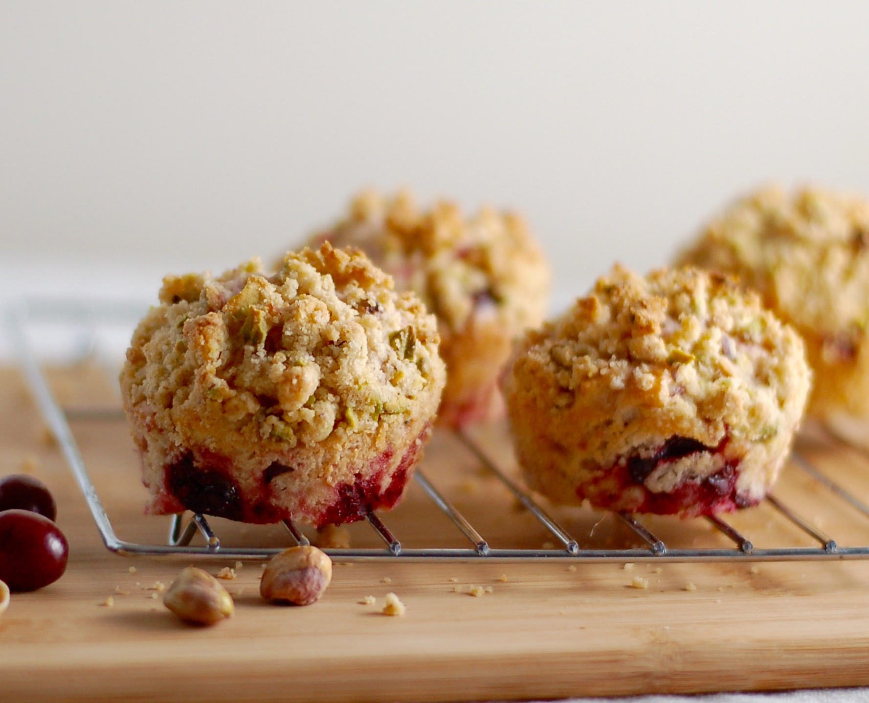 Cranberry Sauce Muffins with Pistachio Crumble