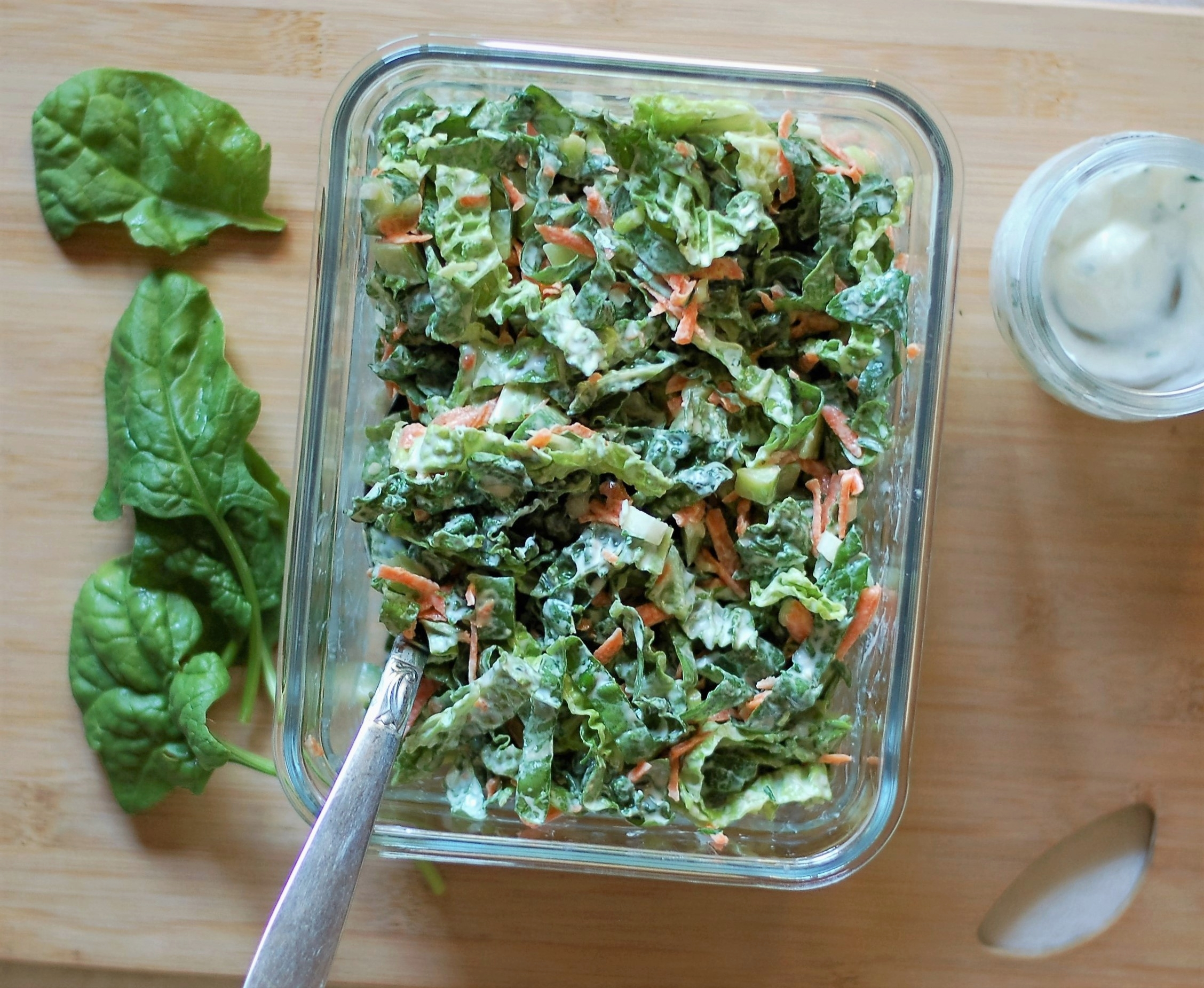 Spinach Slaw with Yogurt Dressing