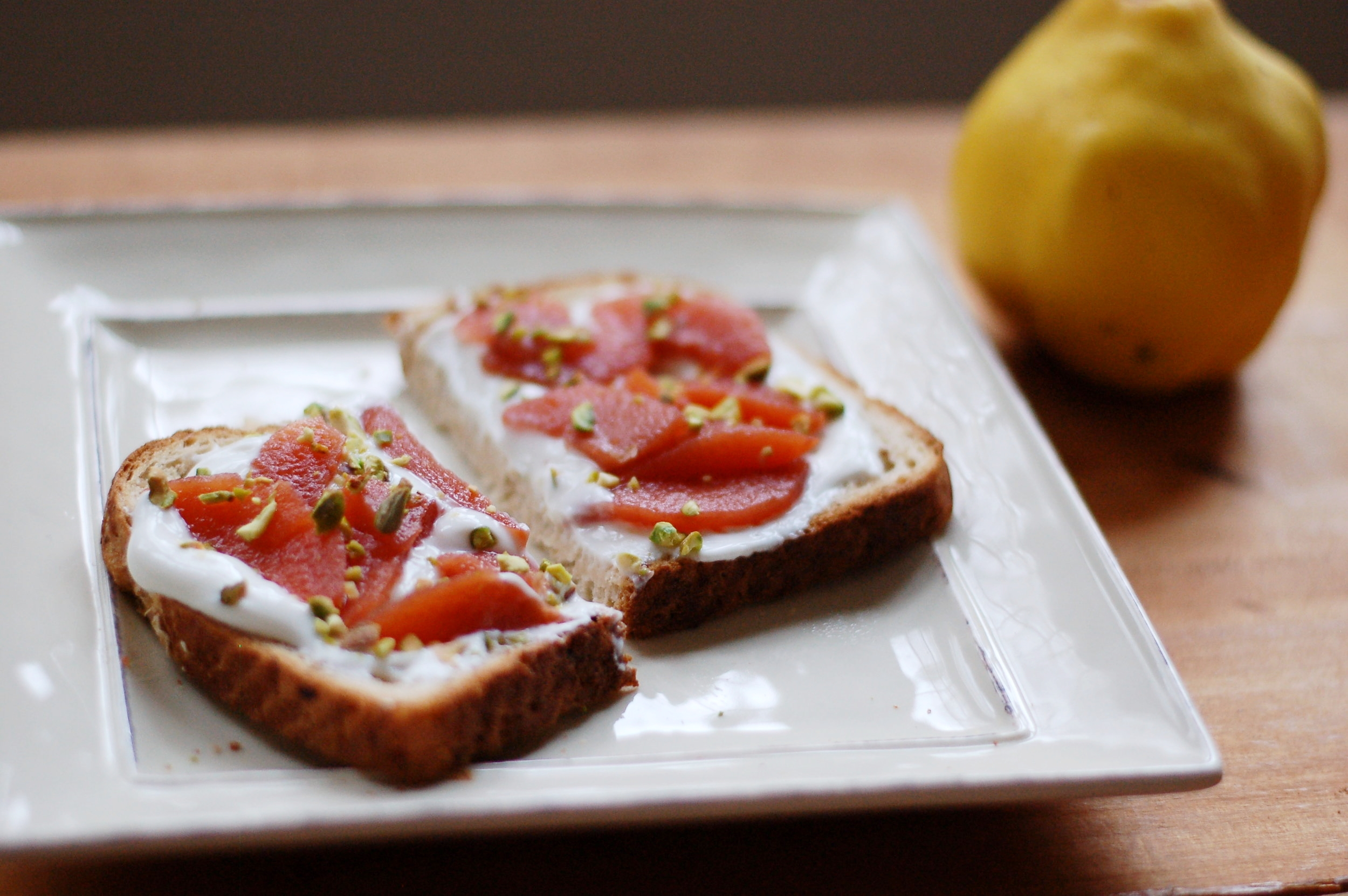 Poached Quince on Toast