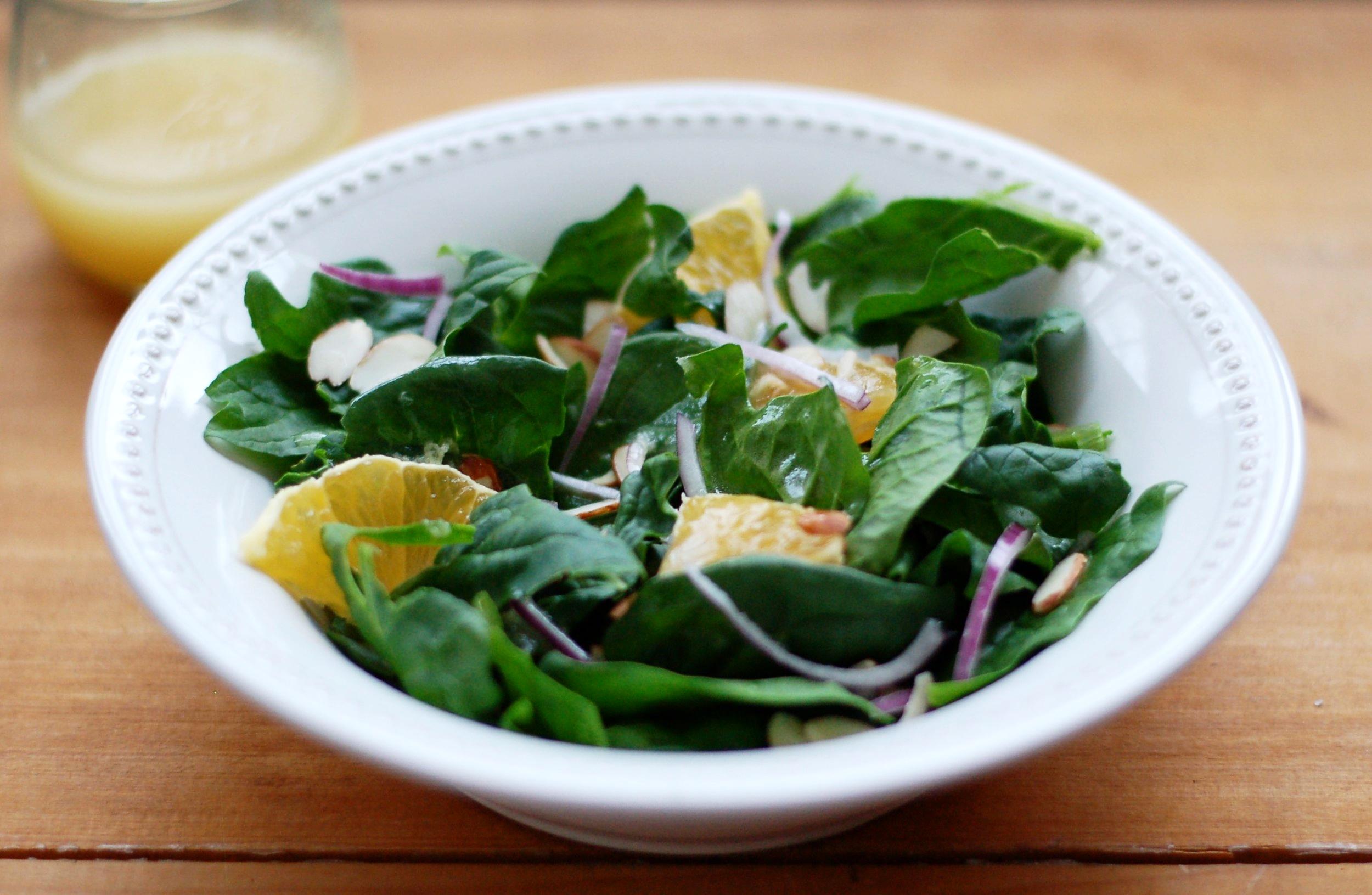 Spinach Salad with Orange Ginger Vinaigrette