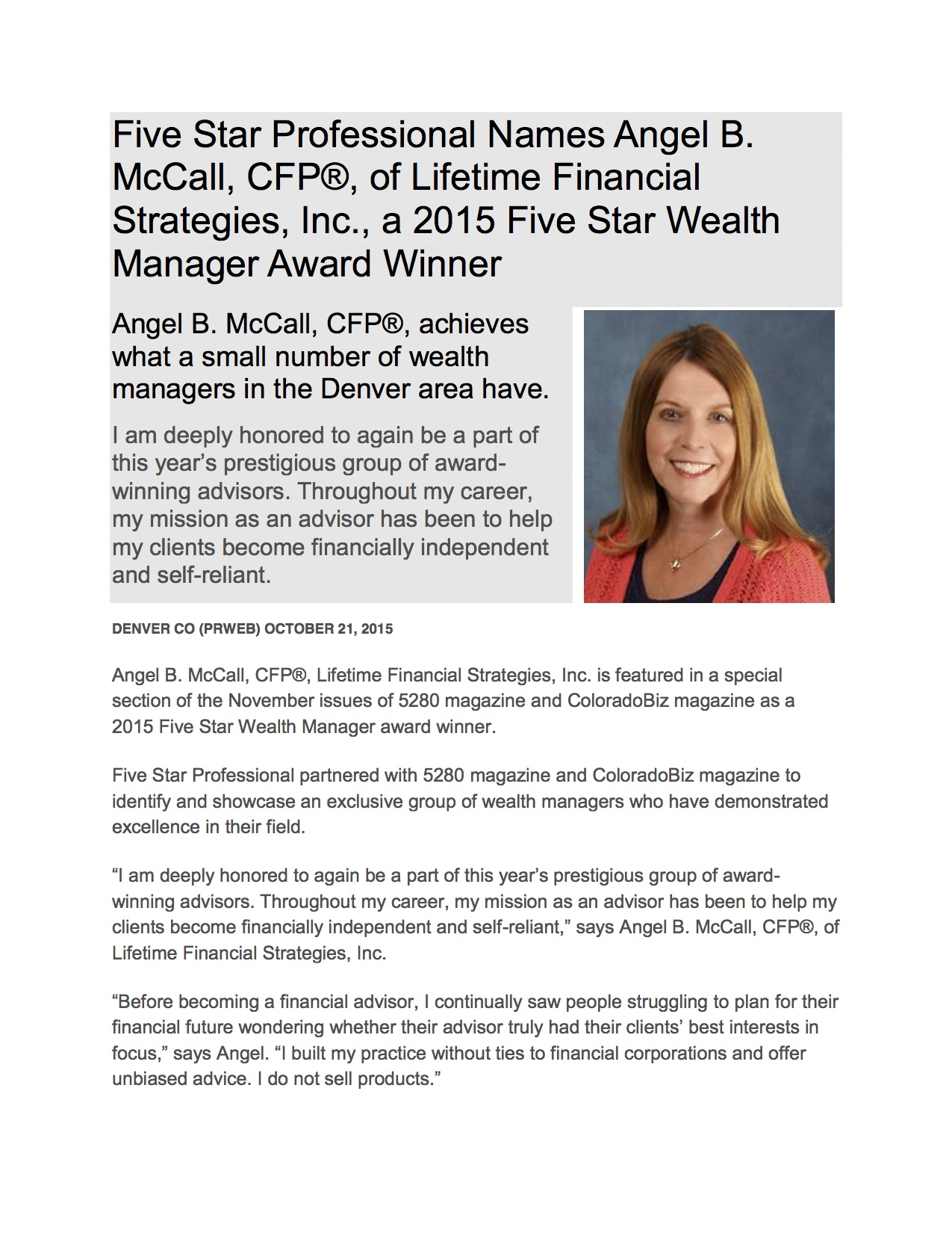 Angel McCall 5 Star Wealth Manager
