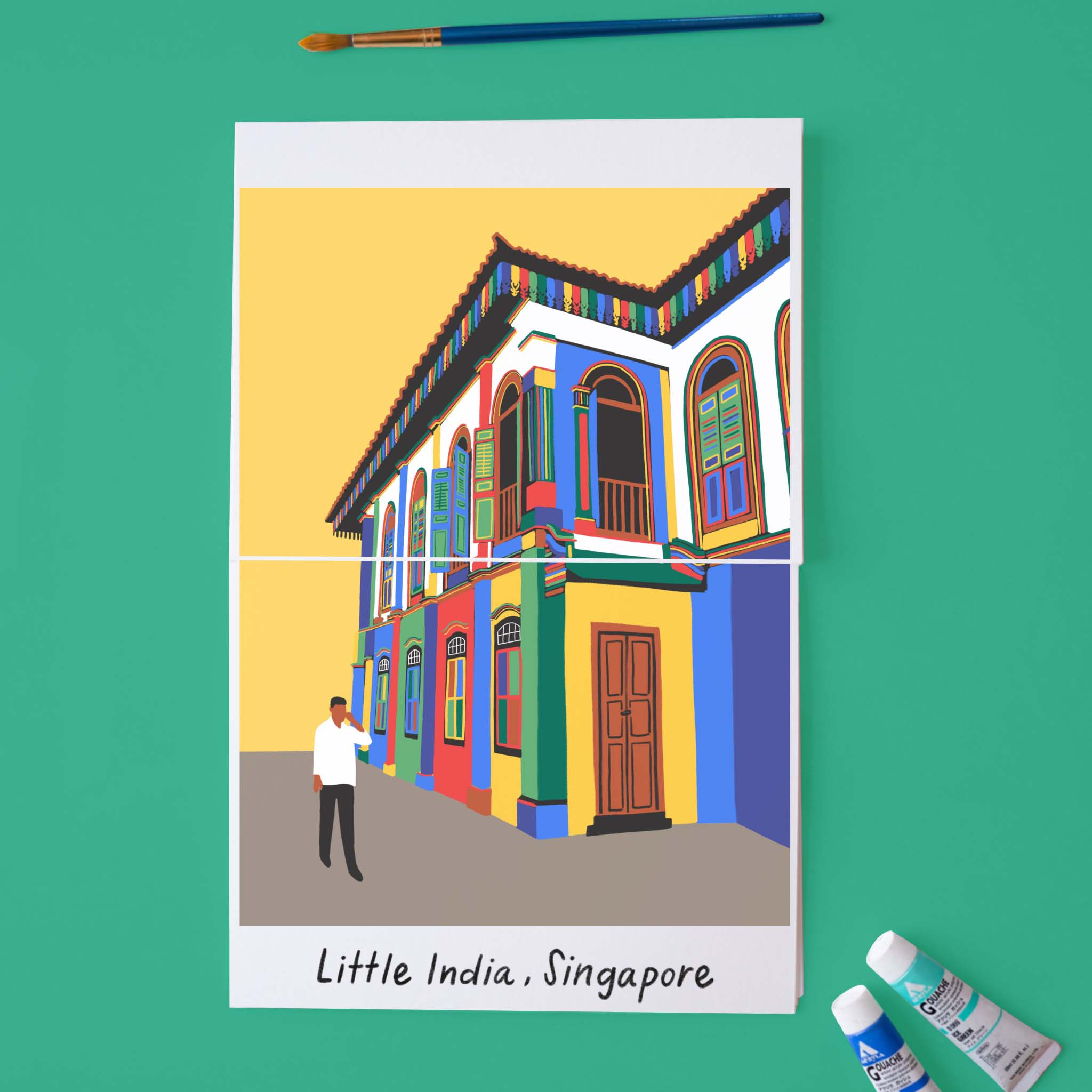 Copy of Traveling iPad drawing series: Little India, Singapore