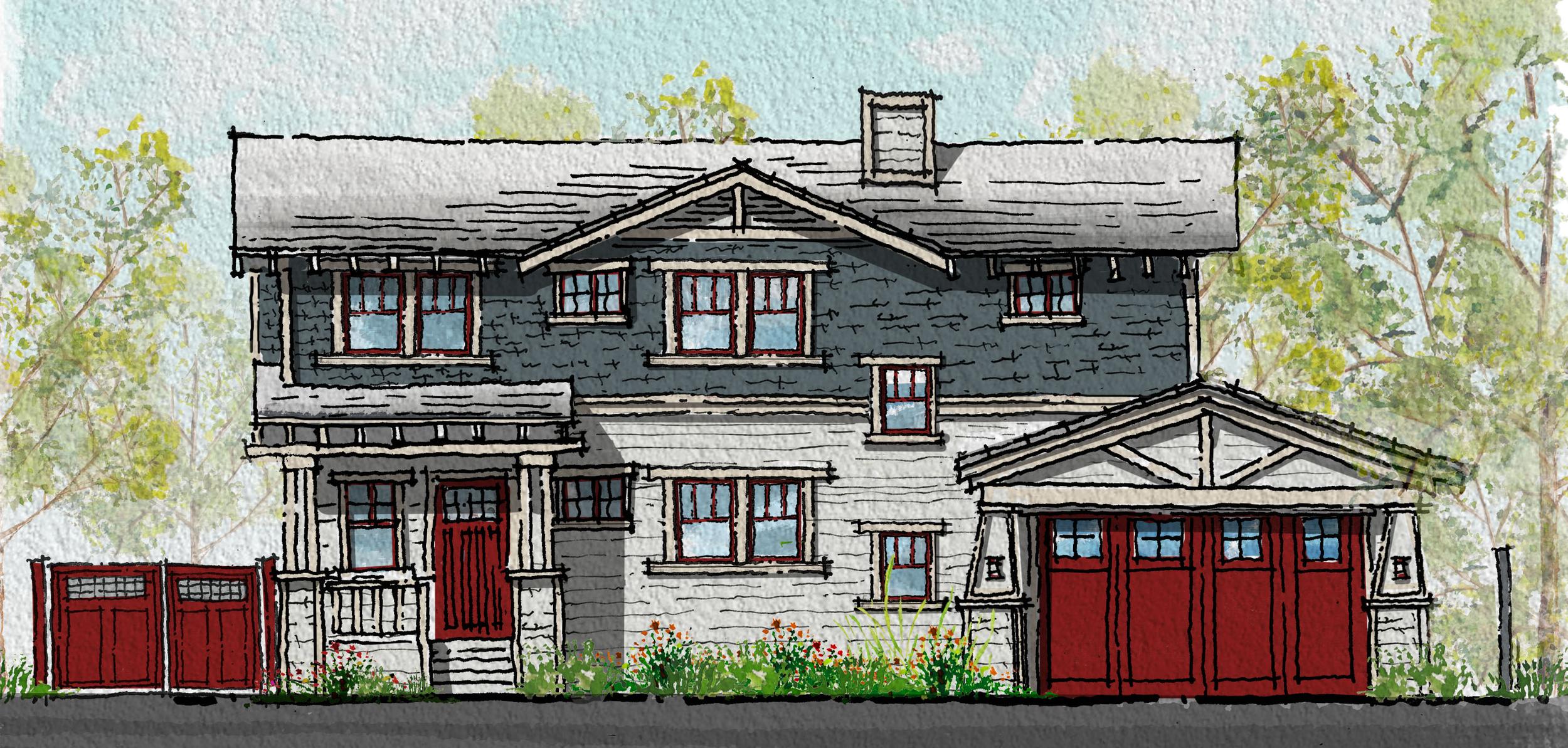 San Luis Obispo Craftsmen Home Front Elevation Option 2.png