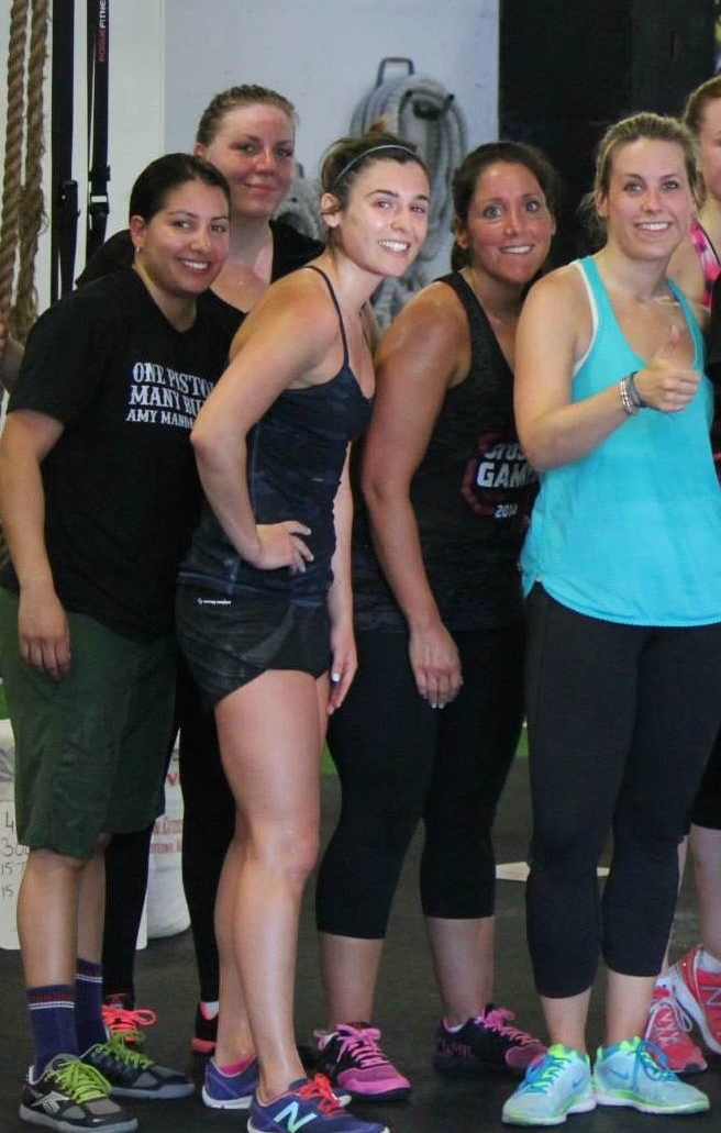 Marz, Amelia, Leigh (center), Andrea and Casey after a workout