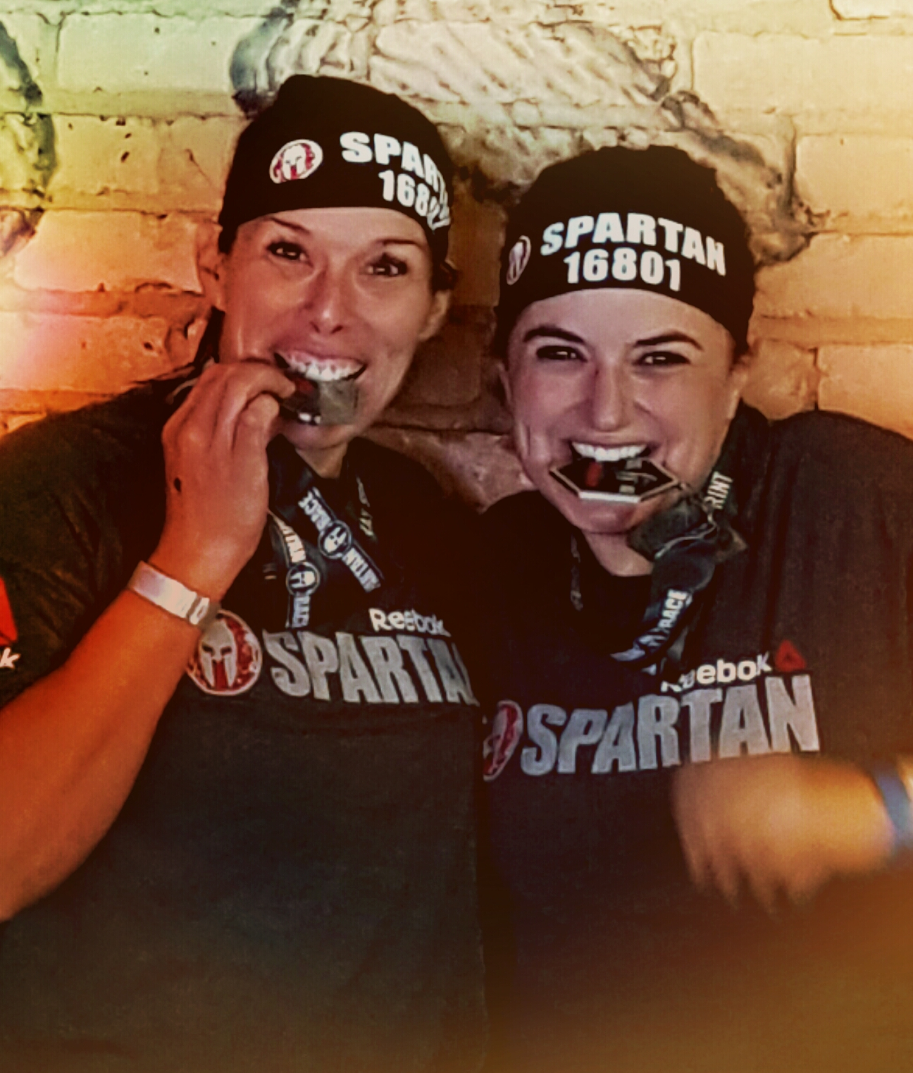 Leslie and Grace P. post-Spartan race.