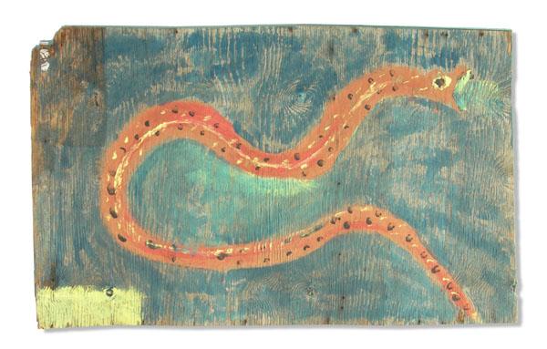 Jimmy Lee Sudduth, Untitled (Snake), 1992, gift of Micki Beth Stiller