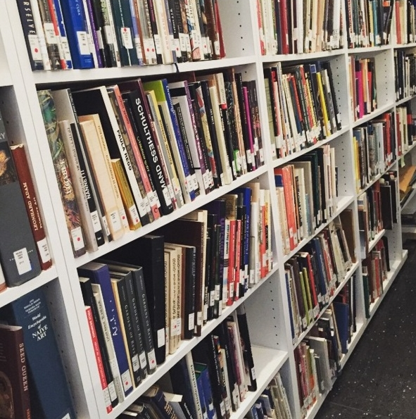 Shelves of books in Roth Study Center
