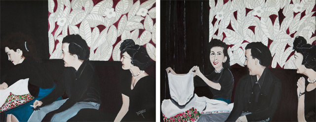 Two paintings of figures opening gifts