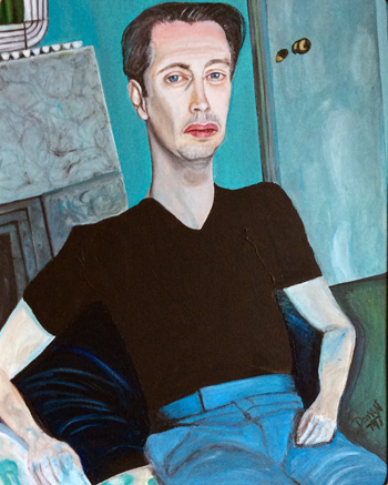 Painted portrait of seated man