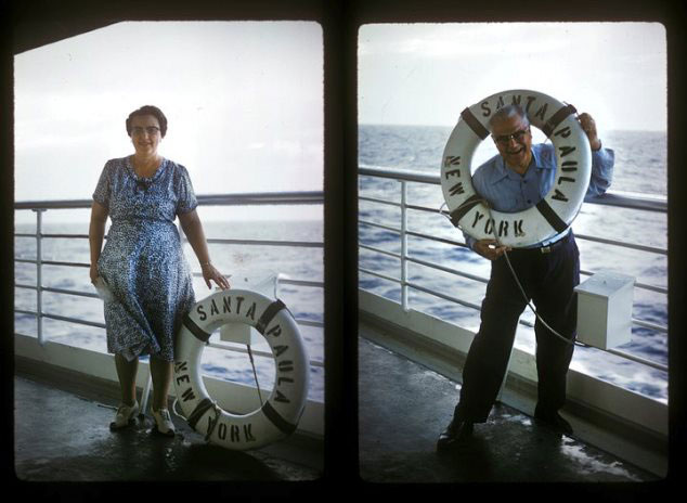 Figures on a ship with life preservers